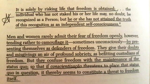 Exert from Pedagogy of the Oppressed Paulo Freire